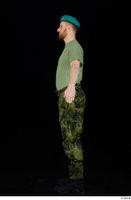 Victor army beret cap black shoes camo trousers dressed green t shirt standing whole body 0011.jpg
