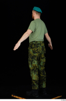 Victor army beret cap black shoes camo trousers dressed green t shirt standing whole body 0012.jpg