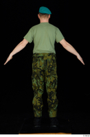 Victor army beret cap black shoes camo trousers dressed green t shirt standing whole body 0013.jpg
