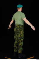 Victor army beret cap black shoes camo trousers dressed green t shirt standing whole body 0014.jpg