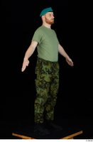 Victor army beret cap black shoes camo trousers dressed green t shirt standing whole body 0016.jpg