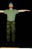 Victor army beret cap black shoes camo trousers dressed green t shirt standing t-pose whole body 0001.jpg