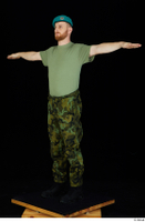 Victor army beret cap black shoes camo trousers dressed green t shirt standing t-pose whole body 0002.jpg