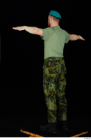 Victor army beret cap black shoes camo trousers dressed green t shirt standing t-pose whole body 0004.jpg
