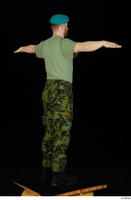Victor army beret cap black shoes camo trousers dressed green t shirt standing t-pose whole body 0006.jpg