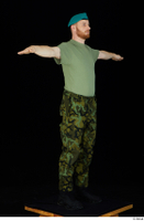 Victor army beret cap black shoes camo trousers dressed green t shirt standing t-pose whole body 0008.jpg