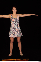 Charity casual dressed floral dress sandals standing t-pose whole body 0001.jpg