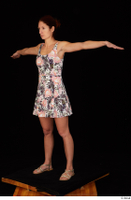 Charity casual dressed floral dress sandals standing t-pose whole body 0002.jpg