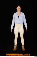 Charity blue shirt casual dressed standing white jeans whole body workers 0001.jpg