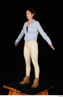 Charity blue shirt casual dressed standing white jeans whole body workers 0010.jpg