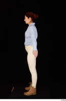 Charity blue shirt casual dressed standing white jeans whole body workers 0011.jpg