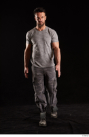 Larry Steel  1 boots dressed front view grey camo trousers grey t shirt shoes walking whole body 0002.jpg