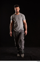 Larry Steel  1 boots dressed front view grey camo trousers grey t shirt shoes walking whole body 0003.jpg