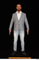 Larry Steel black shoes business dressed grey suit jacket jeans standing white shirt whole body 0001.jpg