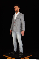 Larry Steel black shoes business dressed grey suit jacket jeans standing white shirt whole body 0002.jpg