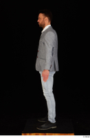 Larry Steel black shoes business dressed grey suit jacket jeans standing white shirt whole body 0003.jpg