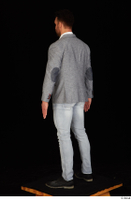 Larry Steel black shoes business dressed grey suit jacket jeans standing white shirt whole body 0004.jpg