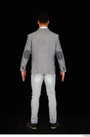Larry Steel black shoes business dressed grey suit jacket jeans standing white shirt whole body 0005.jpg