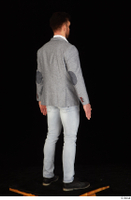 Larry Steel black shoes business dressed grey suit jacket jeans standing white shirt whole body 0006.jpg