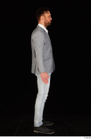 Larry Steel black shoes business dressed grey suit jacket jeans standing white shirt whole body 0007.jpg