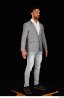 Larry Steel black shoes business dressed grey suit jacket jeans standing white shirt whole body 0008.jpg
