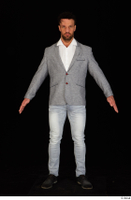 Larry Steel black shoes business dressed grey suit jacket jeans standing white shirt whole body 0009.jpg