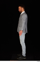 Larry Steel black shoes business dressed grey suit jacket jeans standing white shirt whole body 0011.jpg