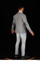 Larry Steel black shoes business dressed grey suit jacket jeans standing white shirt whole body 0014.jpg