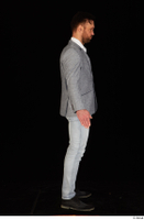 Larry Steel black shoes business dressed grey suit jacket jeans standing white shirt whole body 0015.jpg