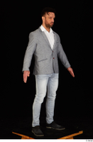 Larry Steel black shoes business dressed grey suit jacket jeans standing white shirt whole body 0016.jpg