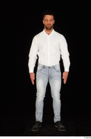 Larry Steel black shoes business dressed jeans standing white shirt whole body 0001.jpg
