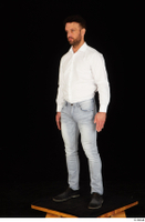 Larry Steel black shoes business dressed jeans standing white shirt whole body 0002.jpg