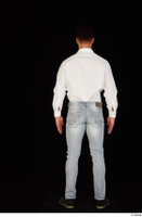 Larry Steel black shoes business dressed jeans standing white shirt whole body 0005.jpg