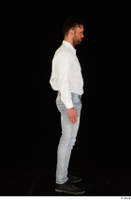 Larry Steel black shoes business dressed jeans standing white shirt whole body 0007.jpg