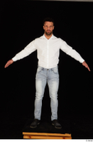 Larry Steel black shoes business dressed jeans standing white shirt whole body 0009.jpg