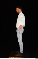 Larry Steel black shoes business dressed jeans standing white shirt whole body 0011.jpg