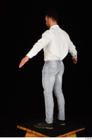 Larry Steel black shoes business dressed jeans standing white shirt whole body 0012.jpg