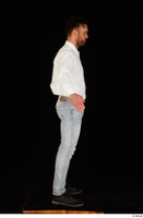 Larry Steel black shoes business dressed jeans standing white shirt whole body 0015.jpg