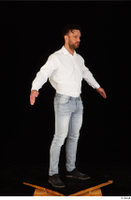 Larry Steel black shoes business dressed jeans standing white shirt whole body 0016.jpg