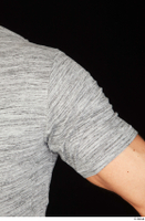 Larry Steel arm casual dressed grey t shirt upper body 0002.jpg