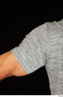 Larry Steel arm casual dressed grey t shirt upper body 0004.jpg
