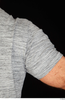 Larry Steel arm casual dressed grey t shirt upper body 0005.jpg