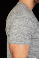 Larry Steel arm casual dressed grey t shirt upper body 0006.jpg