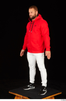 Dave black sneakers dressed red hoodie standing white pants whole body 0002.jpg