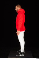 Dave black sneakers dressed red hoodie standing white pants whole body 0003.jpg