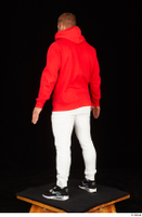 Dave black sneakers dressed red hoodie standing white pants whole body 0004.jpg