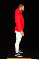 Dave black sneakers dressed red hoodie standing white pants whole body 0007.jpg