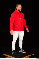 Dave black sneakers dressed red hoodie standing white pants whole body 0008.jpg