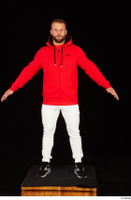 Dave black sneakers dressed red hoodie standing white pants whole body 0009.jpg