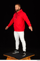 Dave black sneakers dressed red hoodie standing white pants whole body 0010.jpg
